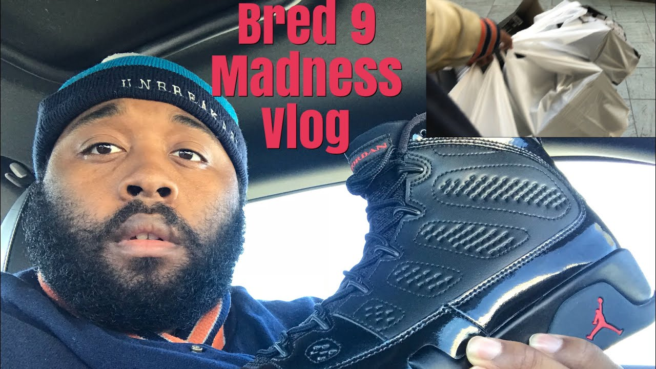 JORDAN 9 BRED VLOG MADNESS LONG LINES SOLD OUT IN MY MALL - JORDAN 9 BRED VLOG MADNESS! LONG LINES! SOLD OUT IN MY MALL
