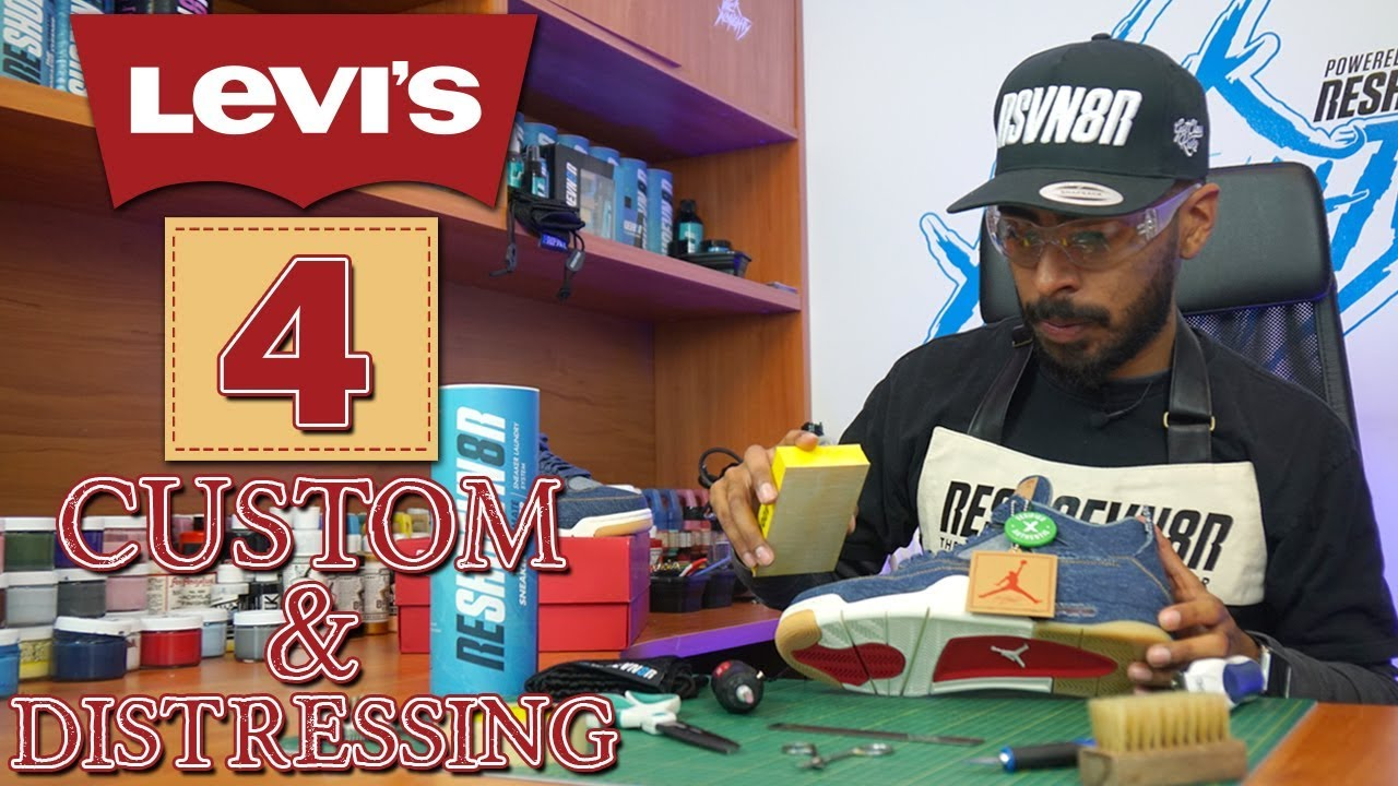 Distressed Jordan 4 X Levis Custom by Vick Almighty - Distressed Jordan 4 X Levi's Custom by Vick Almighty