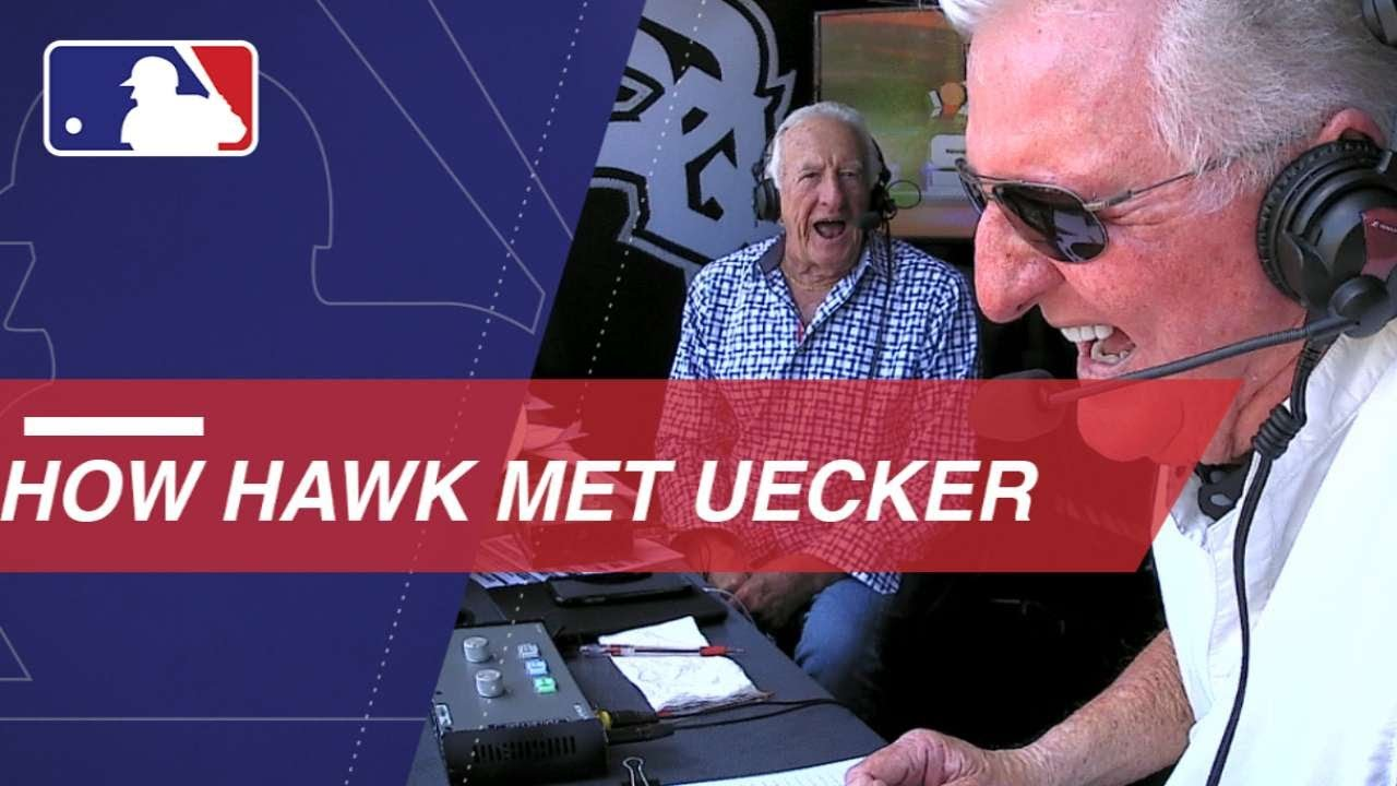 Bob Uecker and Ken Hawk Harrelson swap stories in the booth - Bob Uecker and Ken 'Hawk' Harrelson swap stories in the booth
